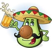 Avocado-mexikanische Zeichentrickfilm-Figur-trinkendes Bier Stockbilder