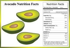 Avocado-Nahrungs-Tatsachen lizenzfreie stockfotografie