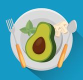 Avocado with nutrition facts. Vector illustration design Royalty Free Stock Photography