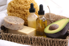 Avocado oatmeal spa treatment. An array of products for a relaxing avocado oatmeal spa treatment Royalty Free Stock Images