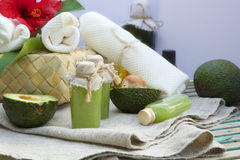 Avocado oil body scrub Stock Photos