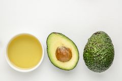 Avocado oil and fruit stock photos