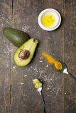 Avocado oil and turmeric ingredients Royalty Free Stock Photo