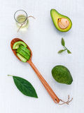 Avocado oil on the white table background clean and healthy Royalty Free Stock Photography