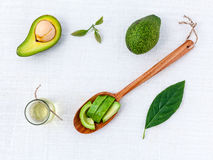 Avocado oil on the white table background clean and healthy Royalty Free Stock Image