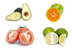 Avocado, orange, tomato and lemon lime fruit isolated on white Stock Photography