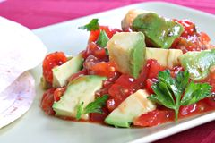 Avocado over Pico de Gallo Salsa Sauce. With Tortilla Wrap royalty free stock images