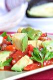 Avocado over Salsa Sauce Royalty Free Stock Photos