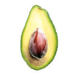 Avocado over white background. Avocado halve over white background stock photo