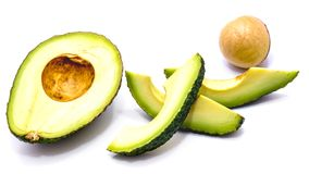 Sliced avocado halves isolated on white background Stock Photo