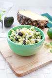 Avocado, pineapple and black beans salad Royalty Free Stock Image