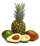 Avocado, pineapple and mango Royalty Free Stock Photography