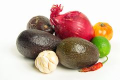 Avocado, Red Onion & Lime. Red Onion, Lime, Hot pepper, Garlic & Avocado Still Life Royalty Free Stock Photo