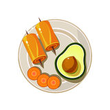 Avocado, Rolls and Carrot Served Food. Vector Stock Photography