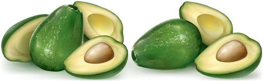 Avocado rozcięcia i owoc połówka Zdjęcie Stock