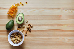 Avocado's, noten, complexe omega-3 Stock Foto