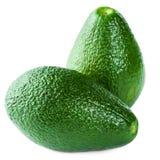 Avocado's op witte achtergrond worden geïsoleerd die Verse groene Avocadofrui Stock Afbeeldingen