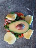 Avocado. Salad with avocado and Apple  in my kitchen  tangier Royalty Free Stock Images
