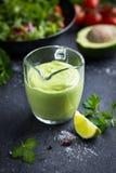 Avocado salad dressing. Creamy avocado sauce in glass. Royalty Free Stock Image