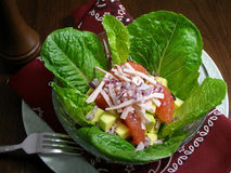 Avocado salad with ham, apple and grapefruit Stock Photography