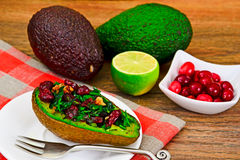 Avocado salad with herbs dill, parsley, cilantro, nuts. And sun-dried cranberries Studio Photo Stock Images