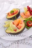 Avocado salad with salmon Royalty Free Stock Photos