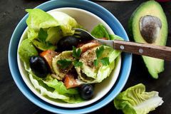 Avocado Salad with Seeds and Vegetables Stock Photo