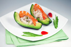 Avocado with salad and shrimp Royalty Free Stock Photography