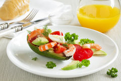 Avocado salad with shrimp Stock Photos