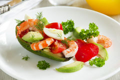 Avocado salad with shrimp Royalty Free Stock Photo