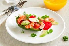Avocado salad with shrimp Stock Image