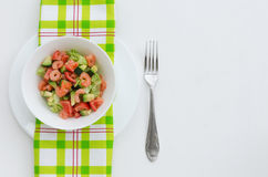 Avocado salad with shrimp and vegetables Stock Photography