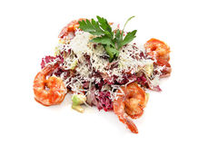 Avocado salad with shrimps. Vegetable Salad with avocado and shrimp on a white background Royalty Free Stock Images