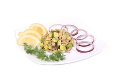 Avocado salad and tuna. Royalty Free Stock Image