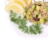 Avocado salad and tuna. Royalty Free Stock Photography
