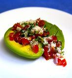 Avocado-Salsa überzogen stockbild