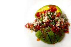 Avocado Salsa Plated on a white dish. With hot sauce with room for text or copy royalty free stock photography