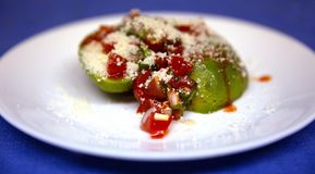 Avocado Salsa Salad with Cotija Cheese and Hot Sauce. Avocado Salsa Salad Pico de gallo with Cotija Cheese and Hot Sauce stock photography