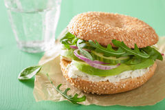 Avocado sandwich on bagel with cream cheese onion cucumber arugu Stock Images