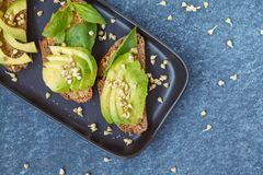 Avocado sandwich with basil and sprouts of green buckwheat on a. Black straight-headed plate, dark blue background. Healthy vegan food concept Royalty Free Stock Images
