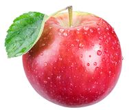 Ripe red apple with allle leaf and water drops.. Ripe red apple with water drops. File contains clipping path Stock Photo