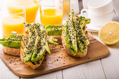 Avocado sandwich on ciabatta bread. Stock Images