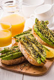 Avocado sandwich on ciabatta bread. Stock Images