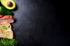 Avocado sandwich on homemade ciabatta bread made with fresh sliced avocados and fried crispy bacon from above. Top view image. Cop. Yspace for your text Stock Photography
