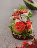 An avocado sandwich with tomatoes and cheeses. stock photography