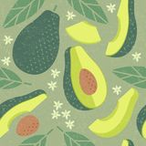 Avocado seamless pattern. Whole and sliced avocado with leaves and flowers on shabby background. Original simple flat illustration. Shabby style stock illustration