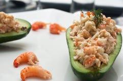 Avocado  and shrimp Stock Photography