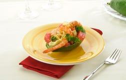 Avocado with shrimp and grapefruit Royalty Free Stock Photos