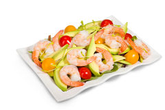 Avocado and shrimp salad isolated on white Royalty Free Stock Images
