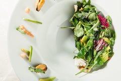 Avocado and shrimp salad Stock Photos